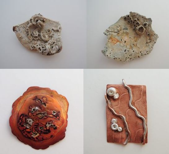 Found objects and completed piece by Jill Clark.